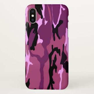 Capa Para iPhone X Camo cor-de-rosa