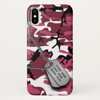 Capa Para iPhone X Camo cor-de-rosa com dog tags