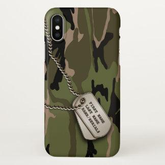 Capa Para iPhone X Camo verde militar com dog tags