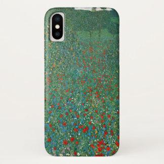 Capa Para iPhone X Campo da papoila por Gustavo Klimt, arte Nouveau