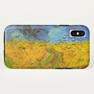 Capa Para iPhone X Campo de trigo com corvos, belas artes de Van Gogh