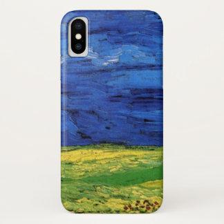 Capa Para iPhone X Campo de trigo de Van Gogh sob um céu nublado
