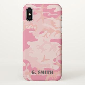Capa Para iPhone X Camuflagem cor-de-rosa. Camo seu