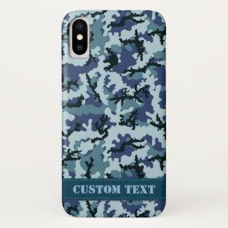 Capa Para iPhone X Camuflagem do marinho
