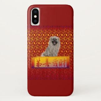 Capa Para iPhone X Cão de Pekingese no ano novo chinês feliz