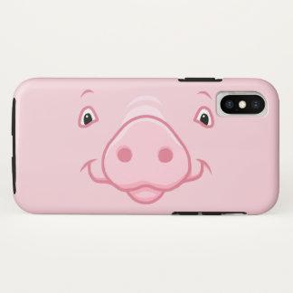 Capa Para iPhone X Cara cor-de-rosa feliz bonito do porco