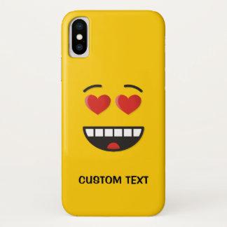 Capa Para iPhone X Cara de sorriso com olhos Coração-Dados forma