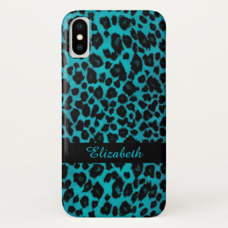 Capa Para iPhone X Caso animal do impressão do leopardo de turquesa