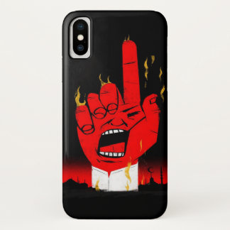 Capa Para iPhone X Caso ardente da mão do diabo do metal pesado