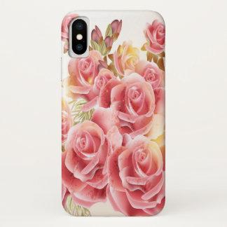 Capa Para iPhone X Caso cor-de-rosa artístico do iPhone X dos rosas