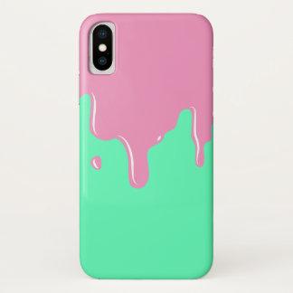Capa Para iPhone X Caso cor-de-rosa e da hortelã do limo do