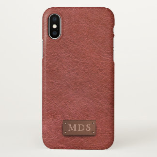 Capa Para iPhone X Caso de couro Oxblood do iPhone X do olhar do