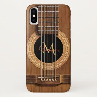 Capa Para iPhone X Caso de madeira morno do iPhone X da guitarra