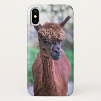 Capa Para iPhone X Caso do iPhone X da alpaca de Brown
