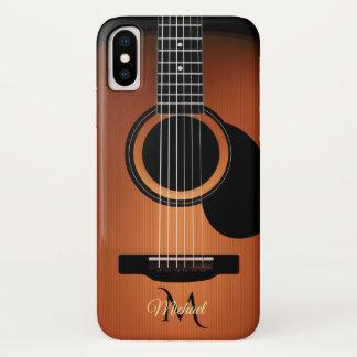 Capa Para iPhone X Caso do iPhone X do monograma da guitarra acústica