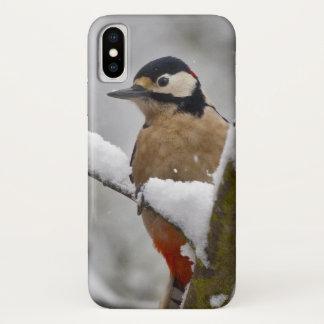 Capa Para iPhone X Caso do iPhone X do pica-pau do inverno