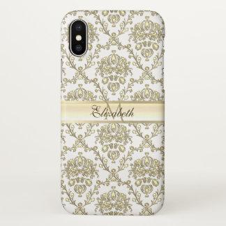 Capa Para iPhone X Caso elegante do iPhone X do damasco do ouro do