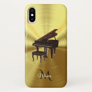 Capa Para iPhone X Caso metálico do iPhone X da música do piano de