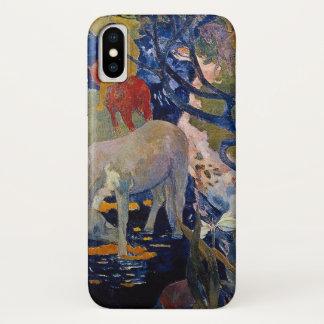 Capa Para iPhone X Cavalo branco por Gauguin, arte do impressionismo