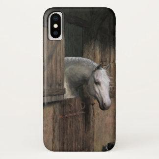 Capa Para iPhone X Cavalo cinzento na porta estável