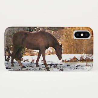 Capa Para iPhone X Cavalo de Brown no caso do iPhone X do inverno