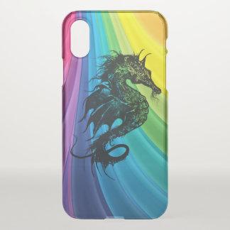Capa Para iPhone X Cavalo de mar no arco-íris