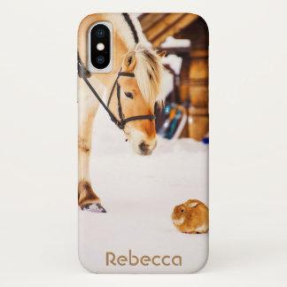 Capa Para iPhone X Cavalo e coelho na neve