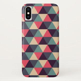Capa Para iPhone X Cerceta e teste padrão cor-de-rosa do triângulo