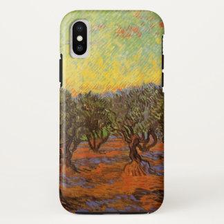Capa Para iPhone X Céu alaranjado do bosque verde-oliva de Van Gogh,