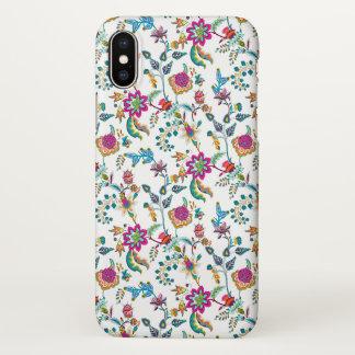 Capa Para iPhone X Chintz floral alaranjado roxo elegante no branco