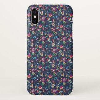 Capa Para iPhone X Chintz floral roxo alaranjado em azuis marinhos