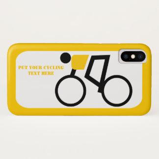 Capa Para iPhone X Ciclista que monta seu amarelo da bicicleta, ícone