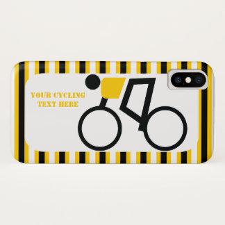 Capa Para iPhone X Ciclista que monta sua bicicleta, listras pretas