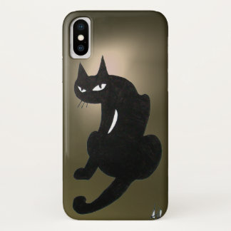 Capa Para iPhone X Cinza do CAT PRETO de NINJA