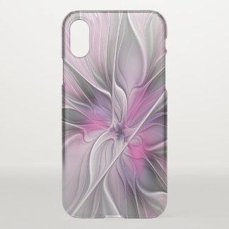 Capa Para iPhone X Cinzas abstratas modernas do rosa da flor do