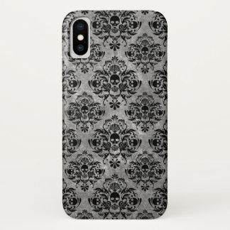 Capa Para iPhone X Cinzas do preto da cor damasco do crânio do gótico