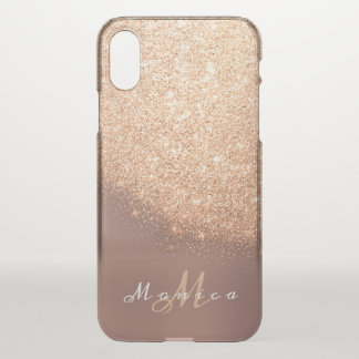 Capa Para iPhone X Cobre cor-de-rosa do pêssego do ouro do nome do
