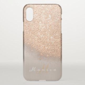 Capa Para iPhone X Cobre do pêssego do ouro do marfim do nome do