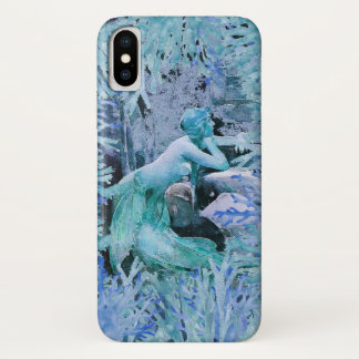 Capa Para iPhone X Cobrir azul do telefone da sereia
