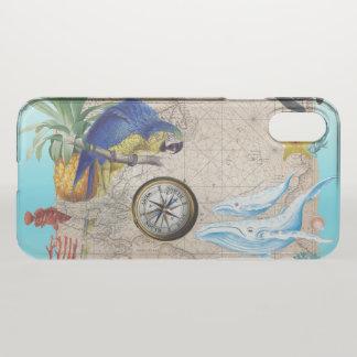 Capa Para iPhone X Colagem azul tropical