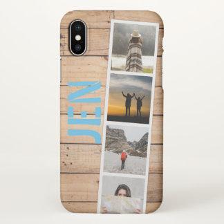 Capa Para iPhone X Colagem da foto de memórias do viagem. Madeira do