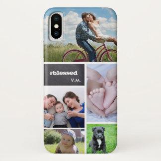 Capa Para iPhone X Colagem feita sob encomenda 5 fotos, letras do giz