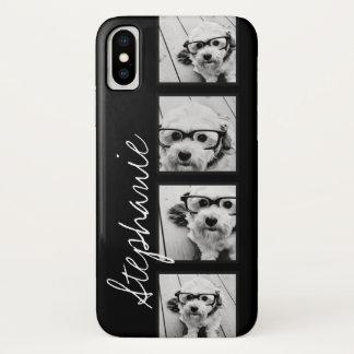 Capa Para iPhone X Colagem preto e branco da foto de Instagram