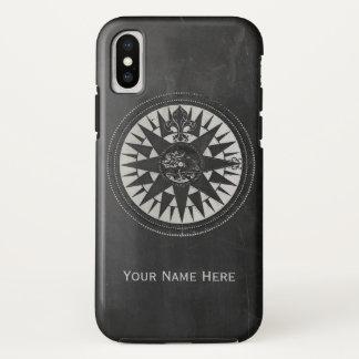 Capa Para iPhone X Compasso náutico no quadro preto