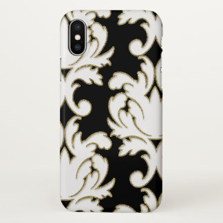 Capa Para iPhone X Cor damasco floral elegante
