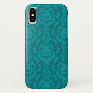 Capa Para iPhone X Cor damasco lisa da cerceta