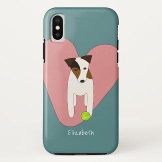 Capa Para iPhone X Coração de Jack Russell Terrier e bola de tênis