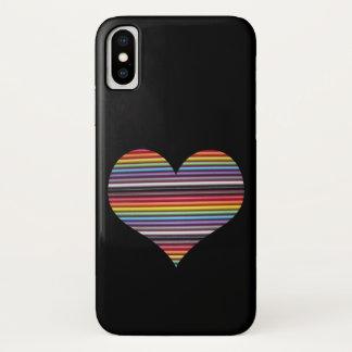 Capa Para iPhone X Coração do cabo de fita do arco-íris