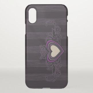 Capa Para iPhone X Coração sujo roxo da obscuridade das listras