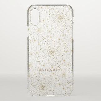 Capa Para iPhone X corações florais delicados de paisley